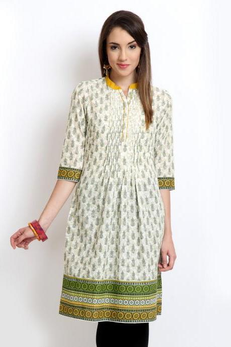 Vishudh Women Beige & White Printed Kurta (Perfect Gift For Women) Super Fast Delivery : Your Daughter, GF and Wife will have big Smile and Happiness