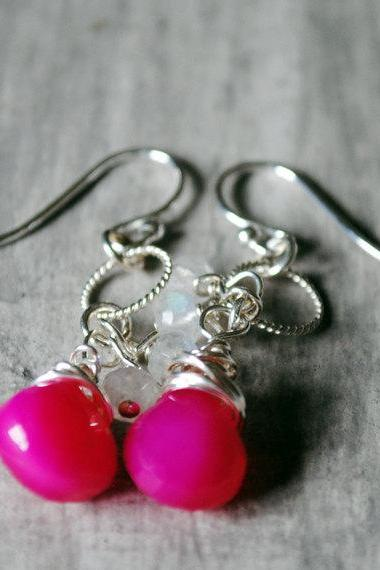 Hot Pink Earrings Sterling Silver Rainbow Moonstone Chalcedony Gemstones Wire Wrapped