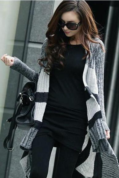 New Design Bat Sleeve Loose Cardigan Sweater For Lady