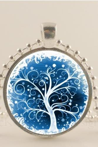 Blue and white, Winter Tree 1'glass & metal pendant with chain necklace Bohemian necklace pendant, tree jewelry, tree jewellery, Tree art pendant charm