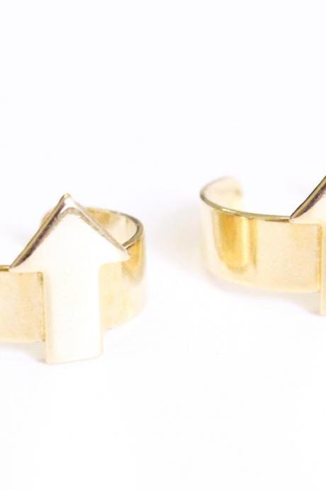 Arrow Cuff Midi Rings in Gold