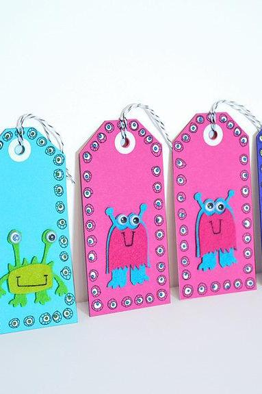 Gift Tags - 6 Cutie Patootie Monster - Handmade Gift Tags