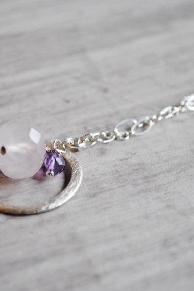 Sterling Silver Necklace Amethyst and Rose Quartz Gemstones Light Pink Purple