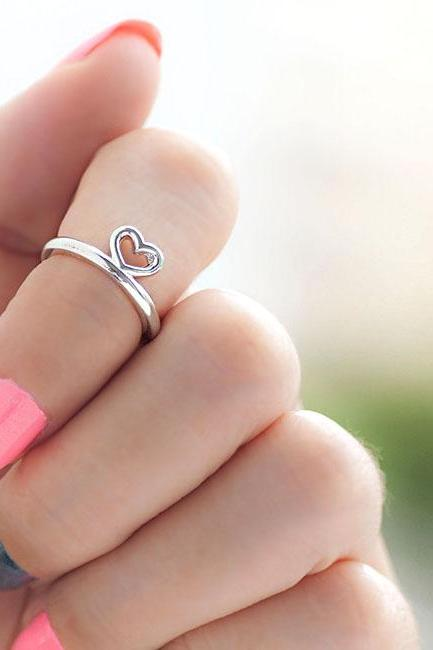 Silver Open Heart Knuckle Ring, Mini Pinky Ring