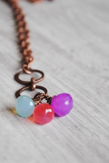 Rainbow Chalcedony Necklace Copper Wire Wrapped Chalcedony Gemstones