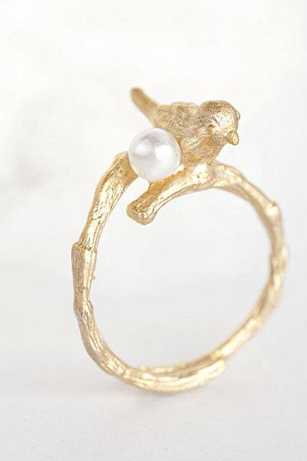 Gold Bird with Twig and Pearl Ring