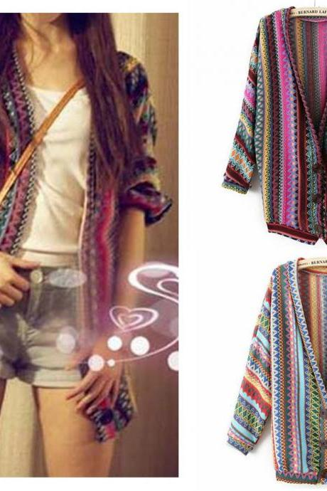 Fashion Country Style Multicolor Argyle Cardigans Sweater with Button
