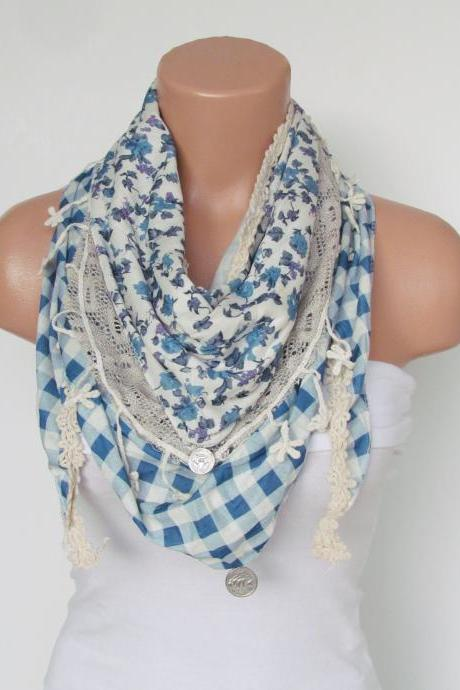 Triangle Scarf with fringe and lace-Winter Shawl Scarf-Winter Fashion-Lace Scarf-Necklace-Pashmina Scarf- Stone Blue Cream