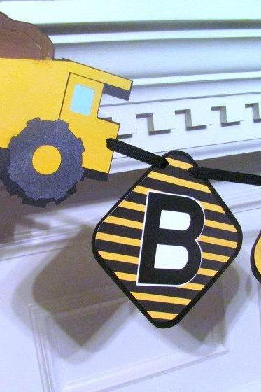 Construction Zone Birthday Banner with Dump Truck