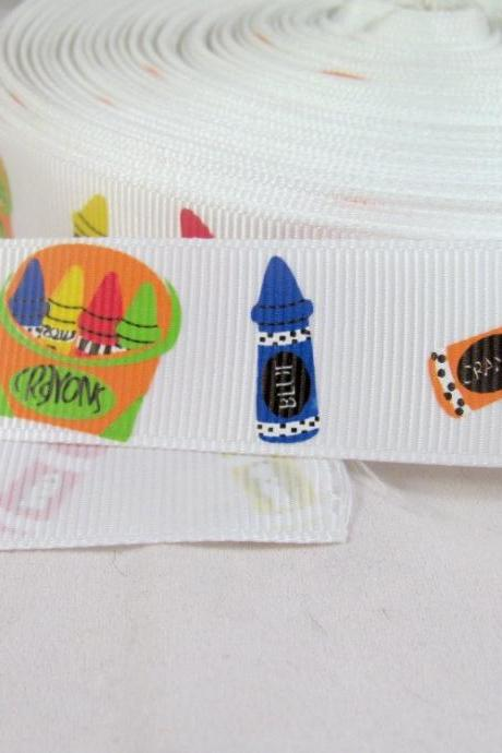 Crayons Back to School 1' Grosgrain Ribbon in Primary Colors