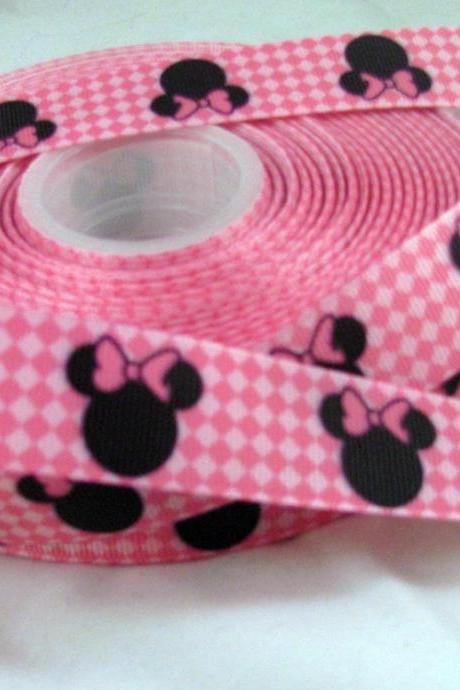 1 Yards 7/8' Pink diamond Grosgrain Ribbon