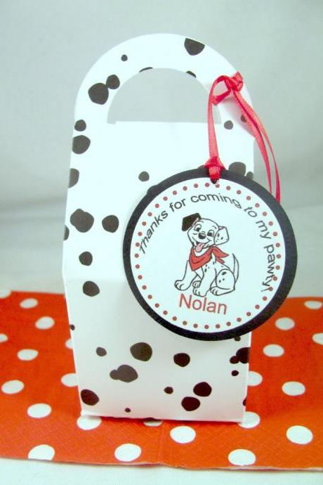 Dalmatian Spotted Favor Boxes with Personalized Favor Tag