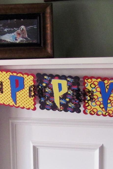 Super Hero Birthday Banner Spiderman Inspired