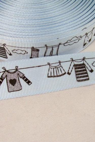 1 Yard 7/8' Clothes Line Ribbon in Soft Blue and Black
