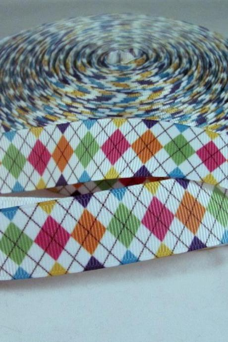 1 Yard 7/8' Harlequin Diamond Ribbon in Primary Colors