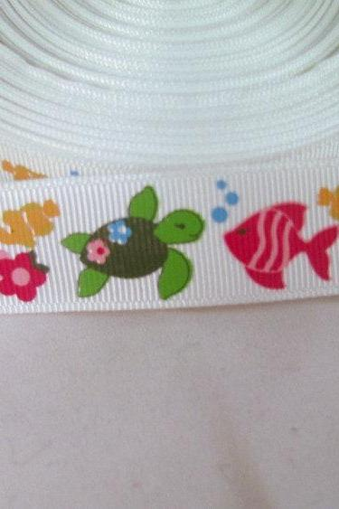 Tropical Fish Grosgrain Ribbon 7/8'