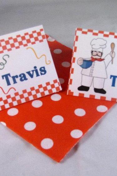 Pizza Cooking Party Tent Fold Placecards/Food Labels- set of 10 Personalized Placecards