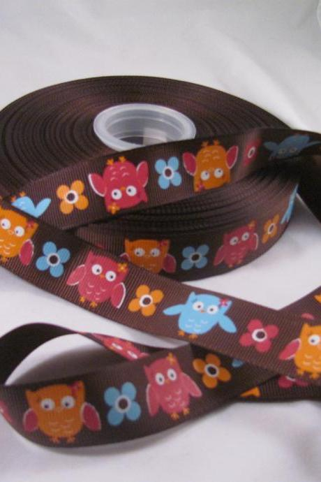 Festive Owl 7/8' Ribbon - 1Yard