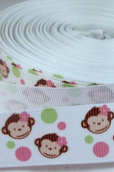 Monkey Face 7/8' Grosgrain Ribbon in pink, green