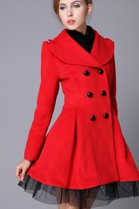 Free Shipping High Quality Fashion Wool Long Winter Dress Coat For Women - Red