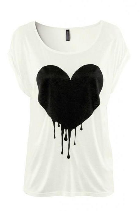 *free ship* White Heart Print T-shirt