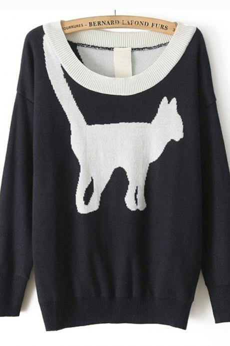 *free ship* cat print sweater