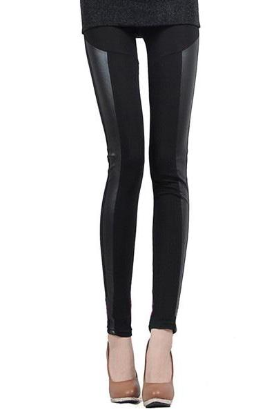 *free ship* Black Leggings with PU Panel