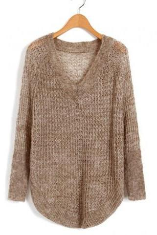 *free ship* V Neckline Knitwear with Cut Out Design