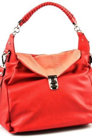 Red Leather Handbag, Red Leather Satchel, Red Leather Hobo, Red Leather Purse, Red Purse, Winter 2015 Handbags.