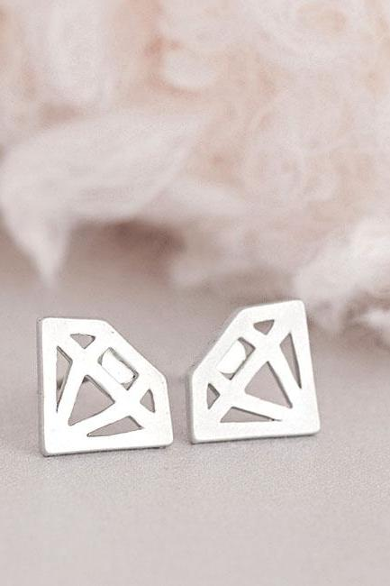 Silver Diamond Stud Earrings, Diamond Graphic Cutout Shape, Geometric Inspired