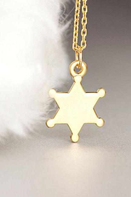 Gold Sheriff Badge Necklace, Police Star Badge Charm