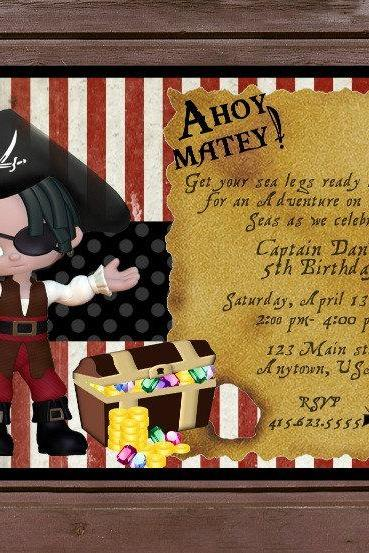 10 Personalized Pirate Themed Birthday Invitations