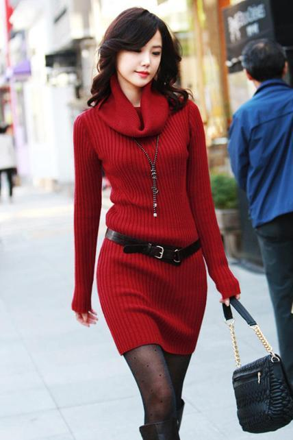High Quality Long Sleeve Turtle Neck Sweater Dress - Wine Red