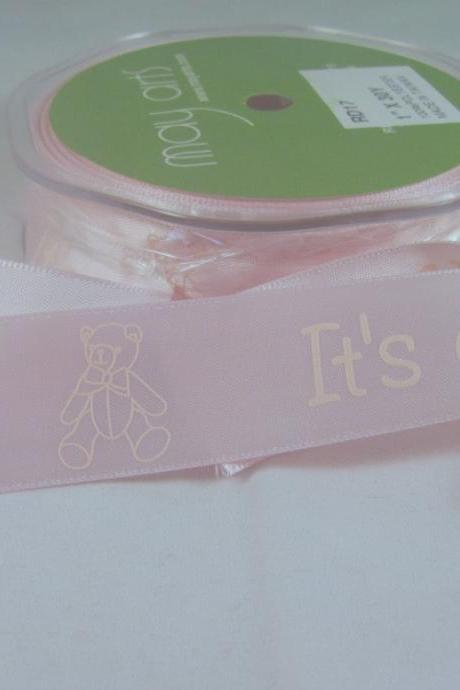 1 Yard 1' Satin It's A Girl Ribbon May Arts Satin Ribbon