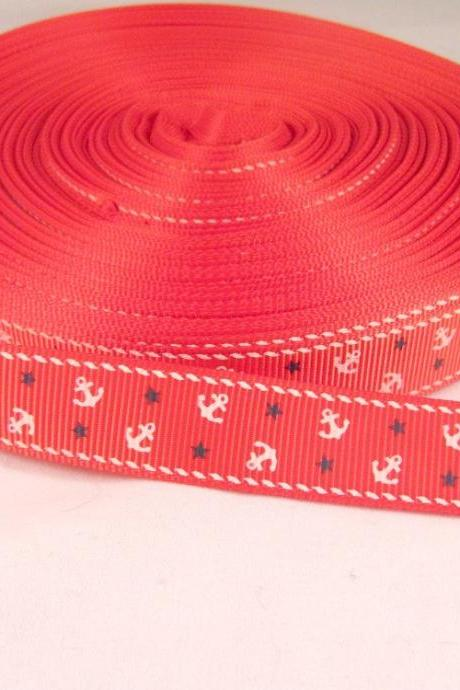 Nautical Anchor Ribbon 1 Yard 5/8' Grosgrain Ribbon