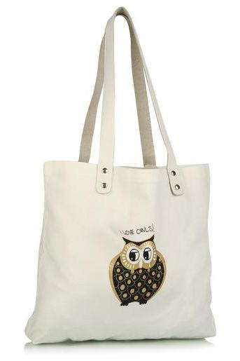 I love Owls Canvas Tote Bag with leather Handle, Perfect Gift Cycle Ride Hand Bag for Unisex Adult. Your BF, GF, Husband, Wife will love it.