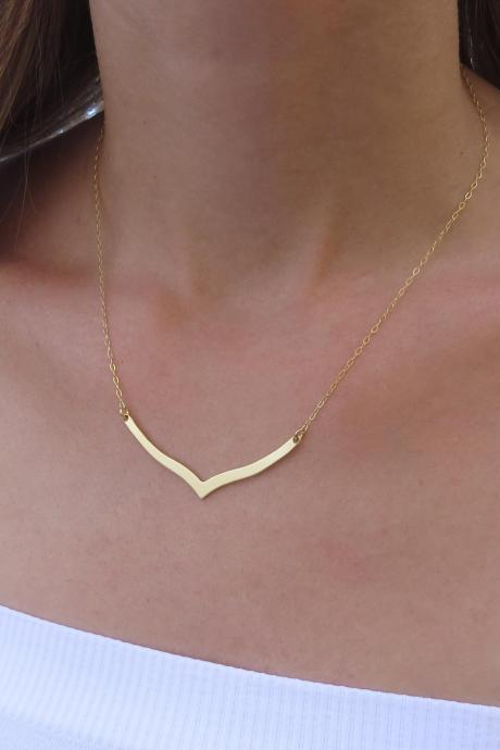 Gold necklace, Gold chevron necklace, Geometric necklace, Simple gold necklace, Fashion gold jewelry, Unique necklace, Gift for her
