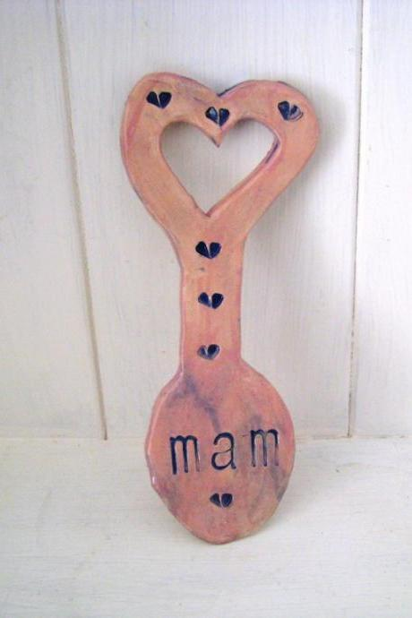 Mam ceramic Lovespoon. Made in Wales, UK. Ready to Ship.