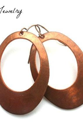 Copper oval hoop earrings, handmade jewelry, jewellery, boho, bohemian earrings, boho jewelry