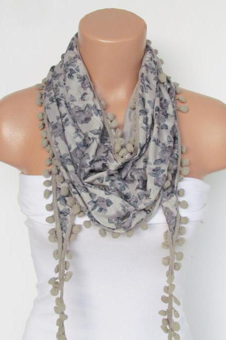 Gray Floral Pompon Scarf -Winter Fashion Scarf-Shawl Scarf-Headband-Necklace- Infinity Scarf- Winter Accessory-Long Scarf