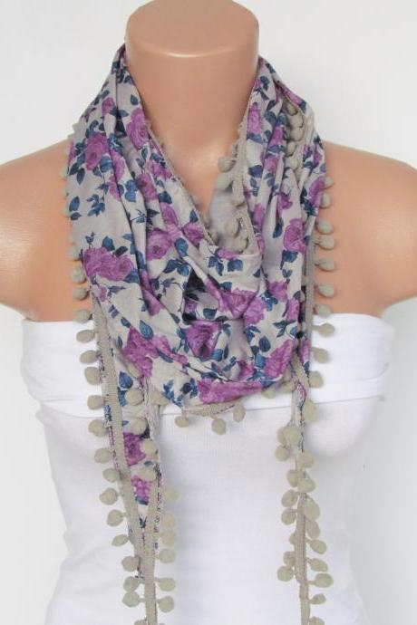 Lilac Floral Pompon Scarf -Winter Fashion Scarf-Shawl Scarf-Headband-Necklace- Infinity Scarf- Winter Accessory-Long Scarf