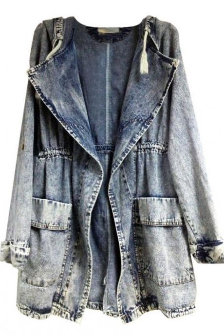 *free ship* Washed Denim Hooded Jacket