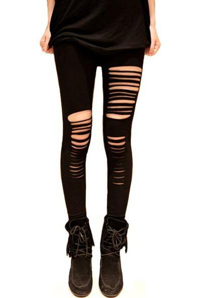 *free ship* Ripped Cotton Leggings