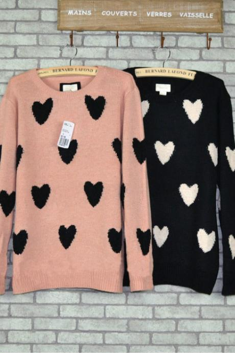 New Sweet Heart Printed Floral Love Sweater &Cardigan