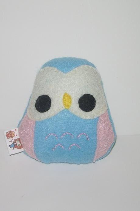 Kawaii Owl Plushie Blue and Pink