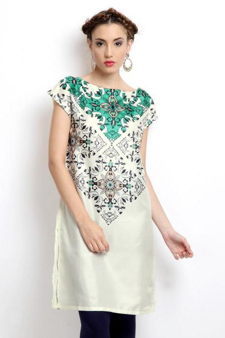 Women Off-White Printed Kurta (Perfect Gift For Women) Super Fast Delivery : Your Daughter, GF And Wife Will Have Big Smile And Happiness