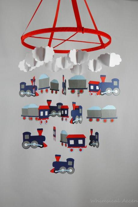 Train Nursery Decorative Mobile in Navy Blue, Red, Gray, Light Blue and White