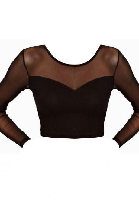 *free ship* Black Cropped Semi-sheer Long Sleeve T-shirt