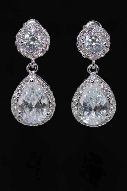 Wedding Earrings, Bridesmaid Earrings, Bridal Jewelry - Cubic Zirconia Round Earring with Cubic Zirconia Teardrop (E600)