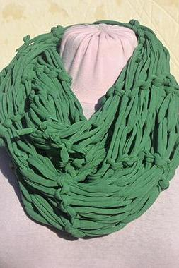 Green Dark Jersey Scarf, Loop Scarf Infinity, T shirt Necklace. Knit Jersey Scarf.